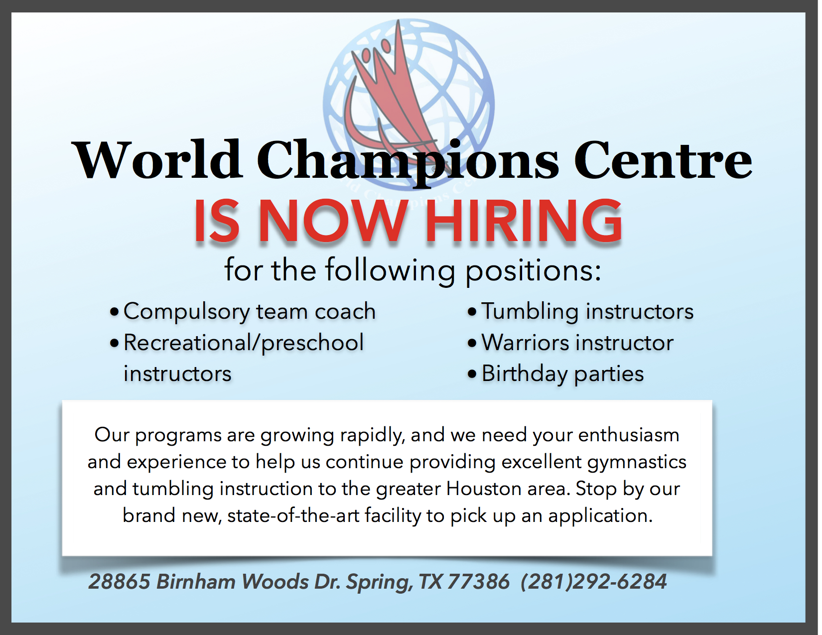 WCC is now Hiring